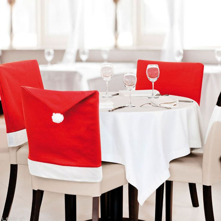 4PCS 2015 New Fashion Santa Clause Red Hat Chair Back Cover Christmas Dinner Table Party Decor For Christmas