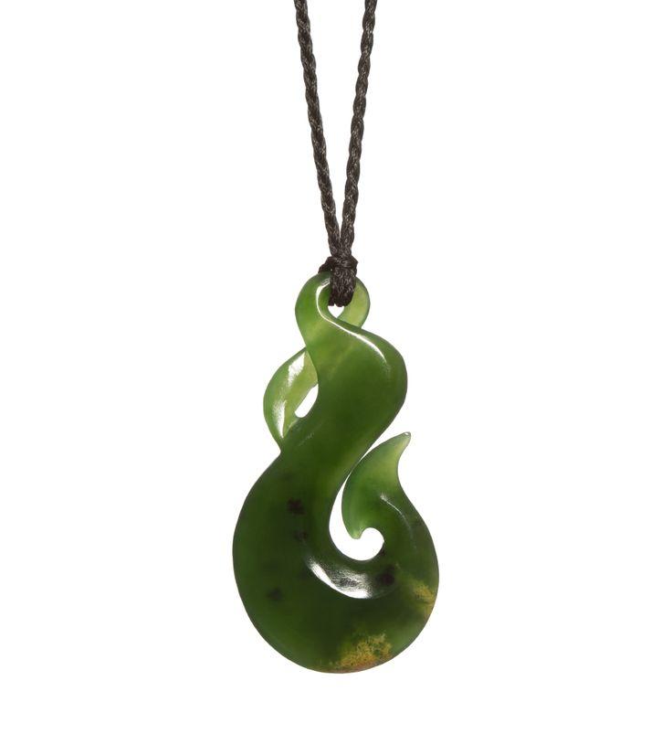 Deep Green NZ Pounamu Hook/Twist Necklace : Mountain Jade New Zealand