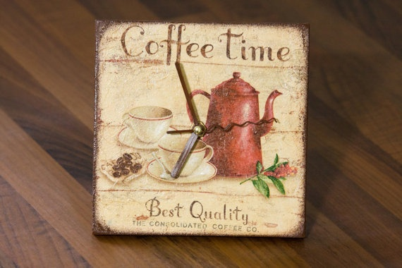 COFFEE TIME Decoupage Clock,
