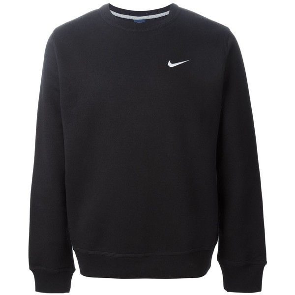 Nike Club Crew Sweatshirt ($60) ❤ liked on Polyvore featuring tops, hoodies, sweatshirts, sweaters, shirts, jumpers, black, embroidered shirts, black shirt and long sleeve crew neck shirts