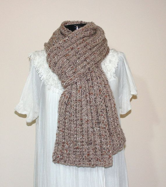 Unisex Hand Knitted Light Earthtone Chunky Scarf Mens scarf  Hand Knitted Scarves For Men