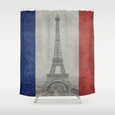 Distressed National Flag of France with Eiffel Tower insert Shower Curtain by Bruce Stanfield - $68.00