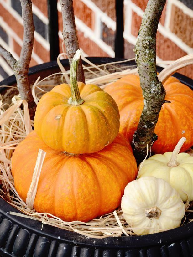 Pumpkin Urn Arrangement  #Halloween #crafts #diy #pumpkinsPorches Arrangements, Halloween Snacks, White Pumpkin, Halloween Bats, Easy Halloween, Pumpkin Urns, Front Porches, Urns Arrangements, Pumpkin Arrangements