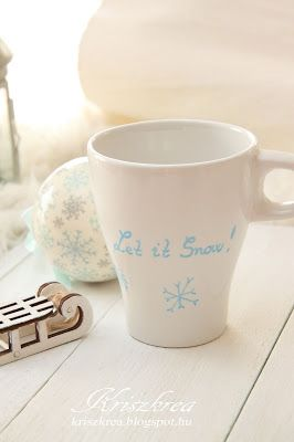 kriszkrea: Téli bögre /porcelán filcel  mug painted marabu DIY.