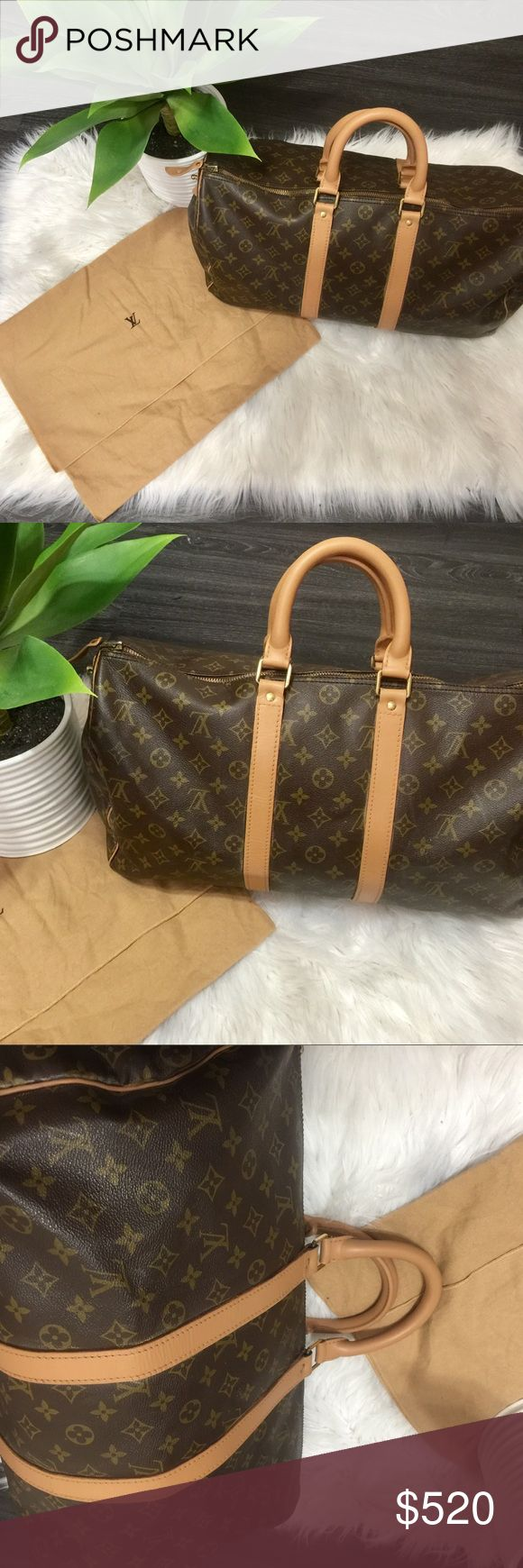 Louis Vuitton keepall 45 monogram bag Authentic Louis Vuitton keepall 45 canvas Monogram. In excellent condition. Comes with Louis Vuitton dustbag Custom Dyed and sealed for weather protection a beautiful vachetta to bring out its natural color. Corners on canvas are slightly scraped please see picture. Noticeable unless you look closely.  Vuitton Style	Hand Bag Material	Canvas leather Color	Monogram canvas Size	18.1 inch Country of Manufacture	France Size (inch) (Appro.)	W18.1 x H10.2 x…