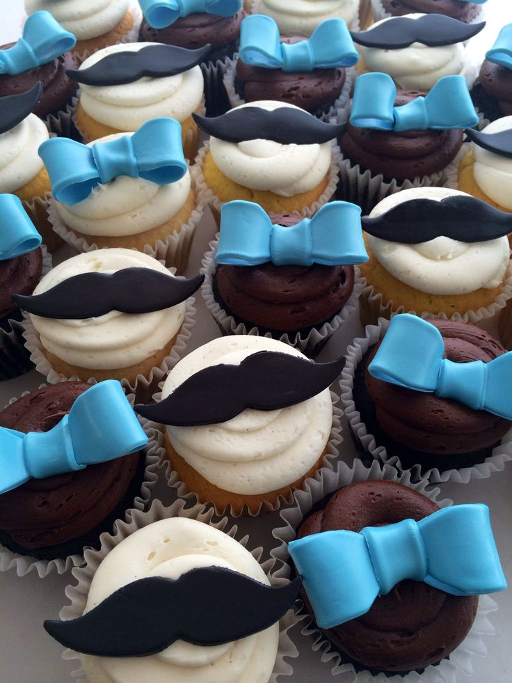 "https://flic.kr/p/tNnyLb | mustache and blue bow cupcakes (3602) | cupcakes with fondant bows and mustaches <a href=""http://www.asweetdesign.info"" rel=""nofollow"">www.asweetdesign.info</a> 818-363-9825"