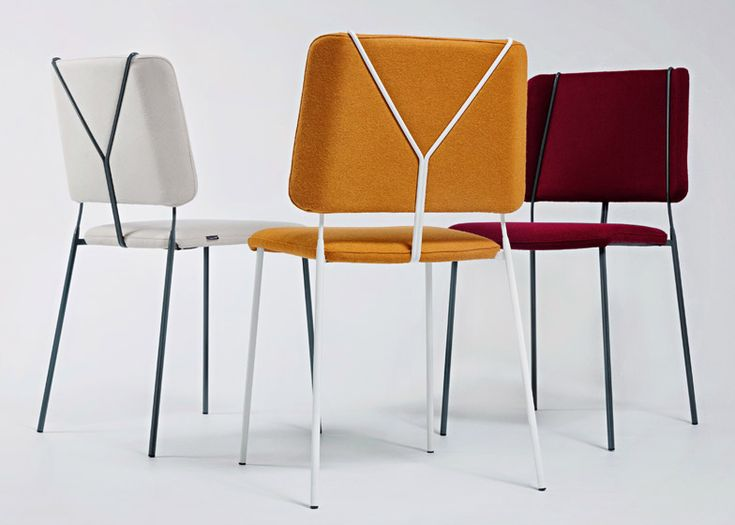 Swing-era trouser braces inform Färg & Blanche's Frankie chair,  by Swedish-French design duo Fredick Färg and Emma Marga Blanche features a metal frame that mimics the shape of trouser braces.