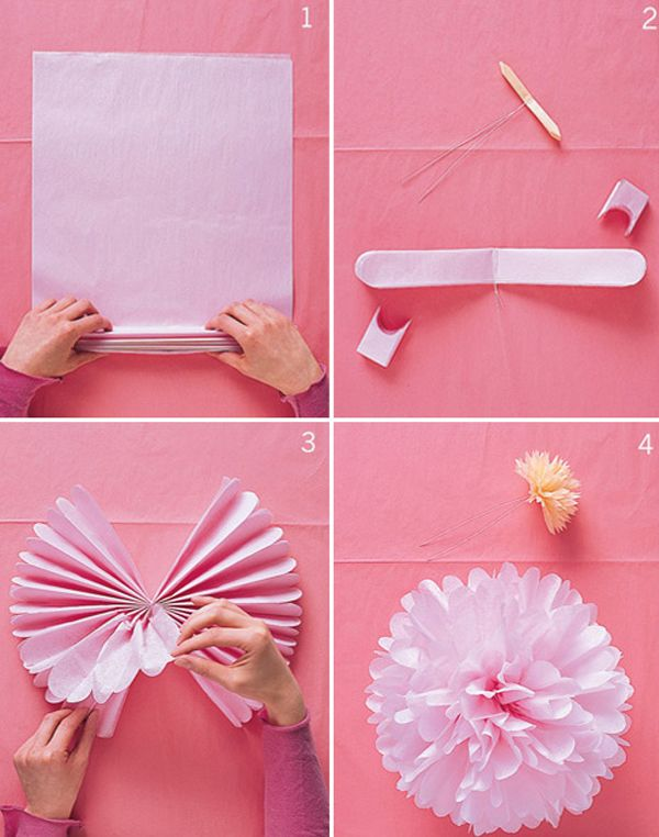 HOW TO/DIY tissue paper pompoms to hang from the ceiling and/or decorate the wedding ceremony arch c/o Martha Stewart. I will experiment with the optimal number of sheets per pom.