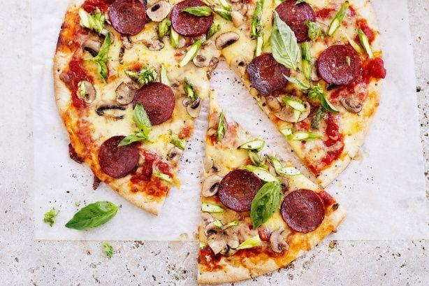 Salami asparagus and mushroom Pizza