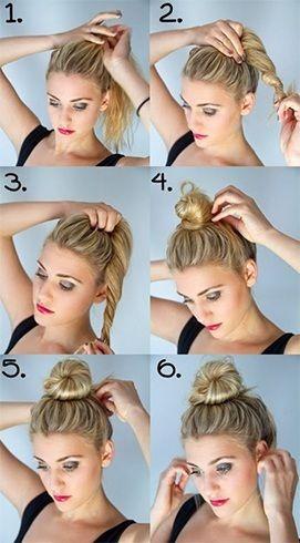 Verschiedene Stile zu den unordentlichen Top Knot für kurze Haare  #den #für #…