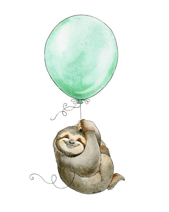 Sloth Decor, Sloth Watercolor, Sloth Art, Sloth Adventure, Flying Sloth, Sloth Nursery, Baby Shower Gift, Watercolour Nursery, Sloth Print