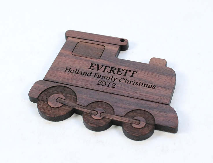 personalized train ornament - natural wooden holiday gift, a Christmas keepsake, baby or toddler stocking stuffer, organic homegrown finish. $13.00, via Etsy.