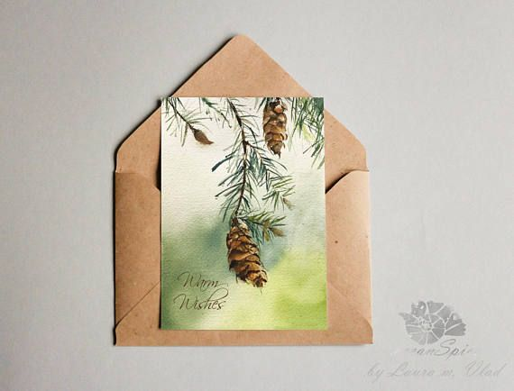 Pine Cones Christmas Card  Watercolor Hand Painted Greeting - Christmas Cards - Watercolor Hand Painted Greeting Cards available now in a Classical Christmas Edition on my oceanSpice shop! Browse by on Etsy store and check out the newest printable Holiday Cards and Originals. The making of these beautiful and elegant cards are posted also on 'Watercolor with oceanSpice' Youtube Channel so you can DIY for a Precious Christmas Gift.