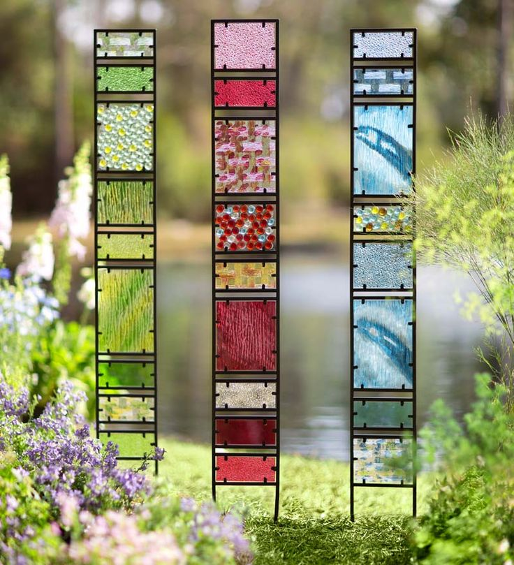 "Decorative Glass Garden Panes - $49.95 • Tall glass garden stakes • Beautiful hand-cut glass yard sculpture • Stunning yard and garden accent – especially when the sun shines through • Each has unique glass insets &  beads  I LIKE BLUE Dimensions - 6""W x 1""D x 65¼""H"