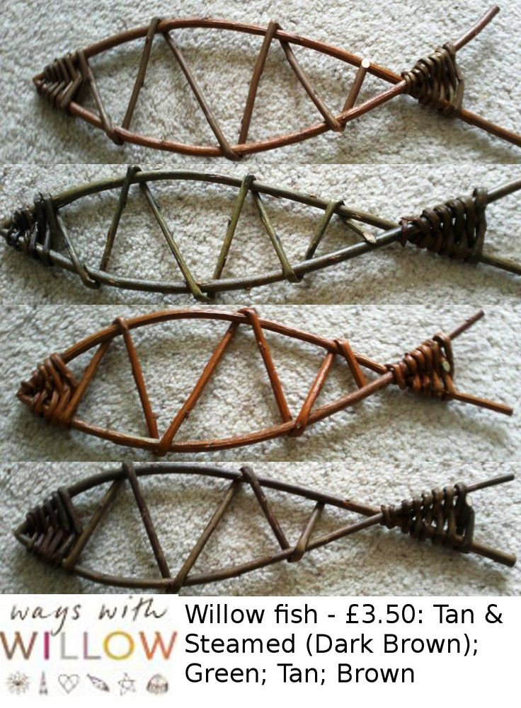 Willow fish - £3.50: Tan & Steamed (Dark Brown); Green; Tan; Brown Ways with Willow CIC: Willow courses & products www.wayswithwillow.co.uk