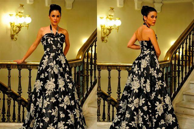 Sira Quiroga vestido negro fiesta flores. El tiempo entre costuras. Capítulo 8  vía http://www.antena3.com/series/el-tiempo-entre-costuras/