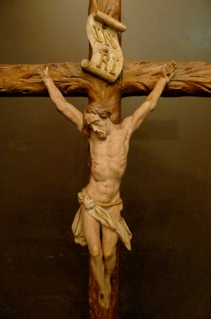 Continental Carved Crucifix Depicting Christ and the Underworld