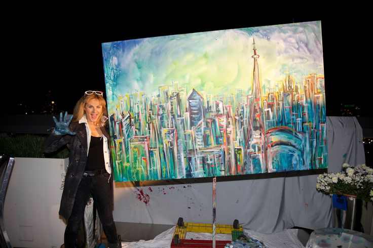 Finished project of the rotating canvas painter. Great painting of Toronto!! - Thompson Hotel http://www.fusion-events.ca/