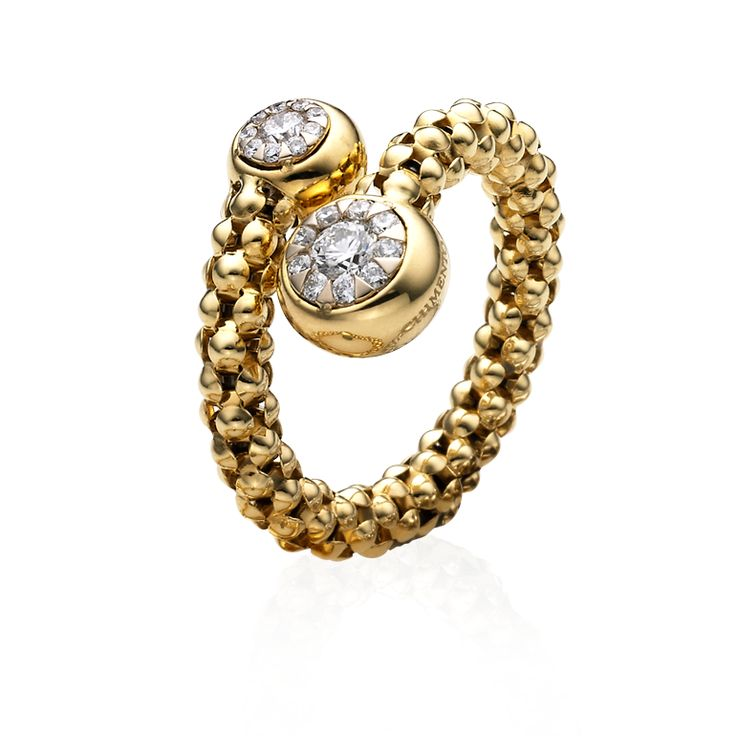 CHIMENTO yellow gold Stretch Bouquet ring with diamonds.