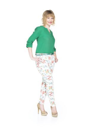 Pin to Win $500! Here's a fresh take on the floral print trend. Match this white printed denim with a loose blouse. Enter here: https://www.facebook.com/justfab/app_137377669785610?ref=ts