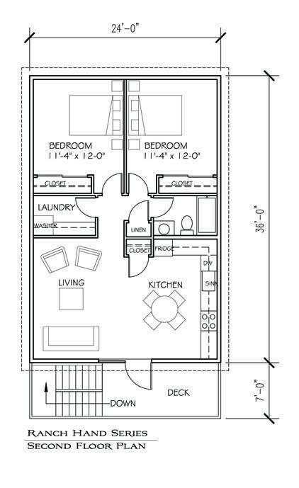 Best idea yet! Can start with this & build house later. Barn apartment - floor plan (can also be 2 car garage)