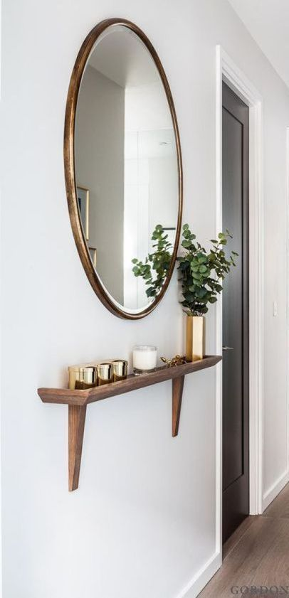 cute mirror home decor. round mirror entry way design. cute entry way home desig…