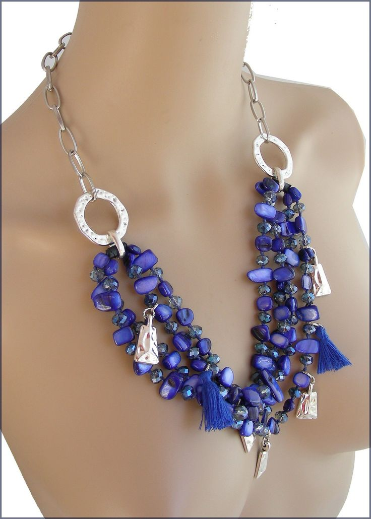 Collier multirangs Bleu/Indigo - Nacre, cristal, breloques métal : Collier par ladyplazza