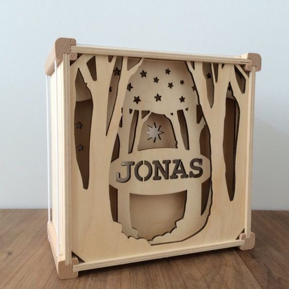 Wooden lamp with name от houtlokael на Etsy