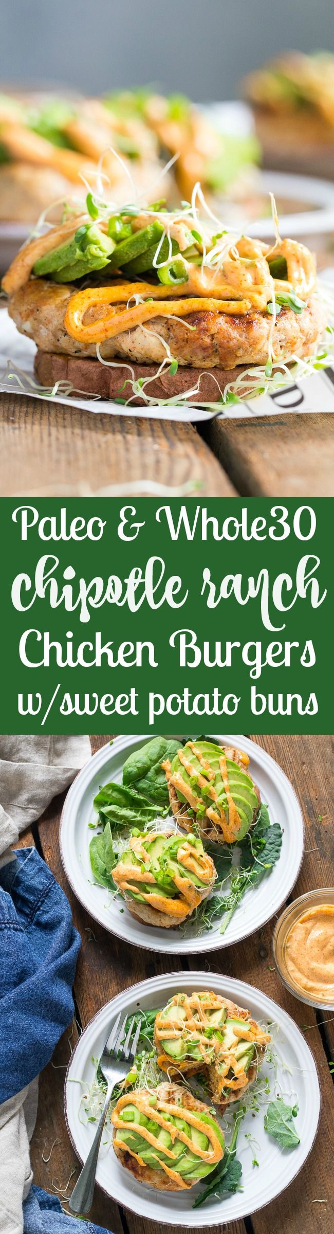These Chipotle Ranch Chicken Burgers are loaded with your favorite flavors and perfect on a grilled sweet potato bun!  Topped with chipotle ranch sauce, avocado and sprouts for a delicious, fun, and h (Paleo Recipes Chicken)