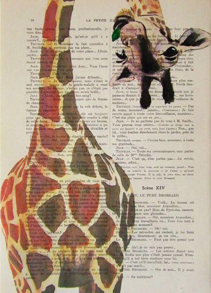 Giraffe Drawing Illustration Digital Print Mixed Media Art Poster Acrylic…