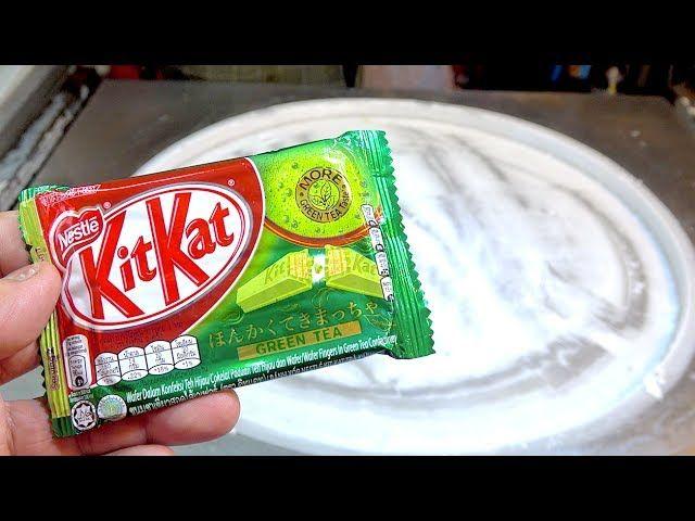 ICE CREAM ROLLS   Japanese Matcha Green Tea KIT KAT Ice Cream With Corn Flakes   Brownie Chocolate