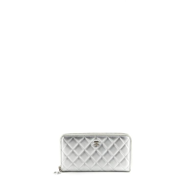 Chanel Silver Calfskin Zip Around Wallet - $1000 CAD