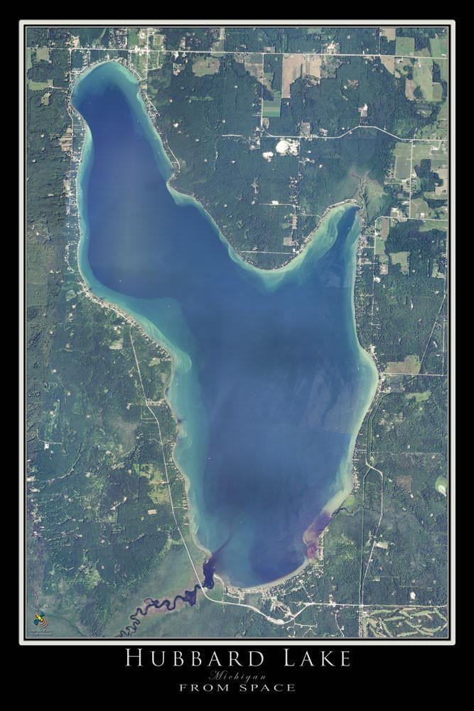 Hubbard lake michigan satellite poster map lake michigan for Hubbard lake mi fishing