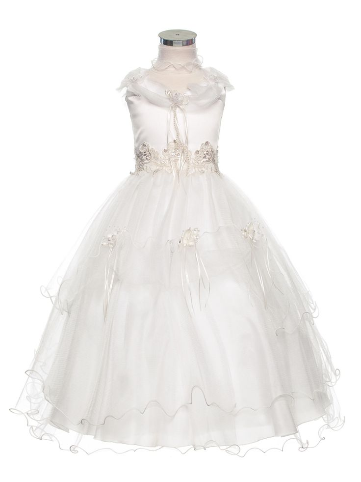 Ivory Enchanting Flower Embroidered Tulle Flower Girl Dress (Sizes 2-16 in 4 Colors)