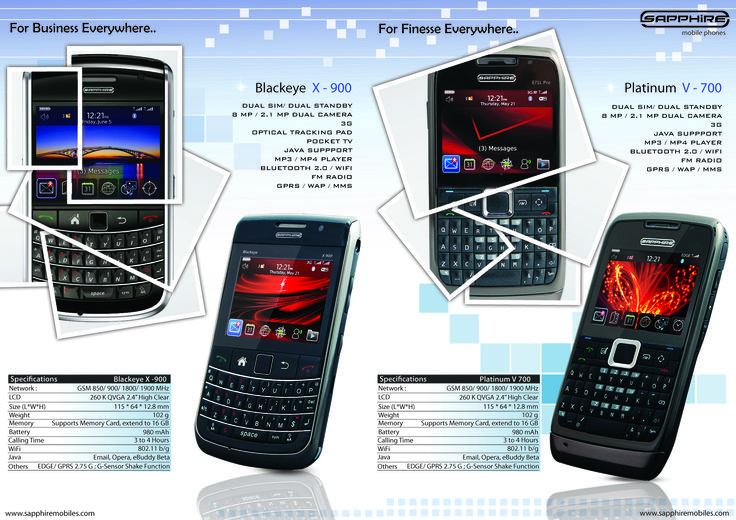 Brand Identity - Sapphire Mobiles  Brochure (Inside Pages)