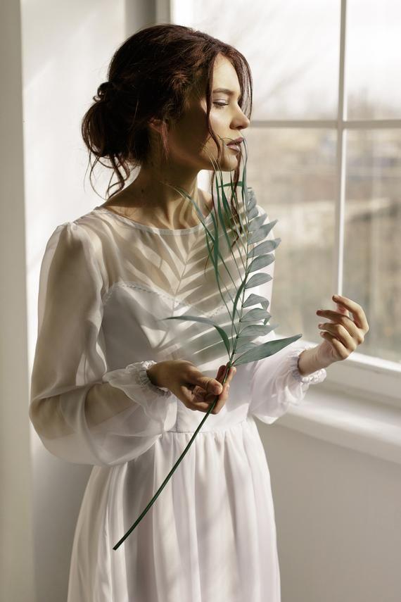 long puff sleeve wedding dress simple minimalist wedding dress chiffon white wedding gown modern boh