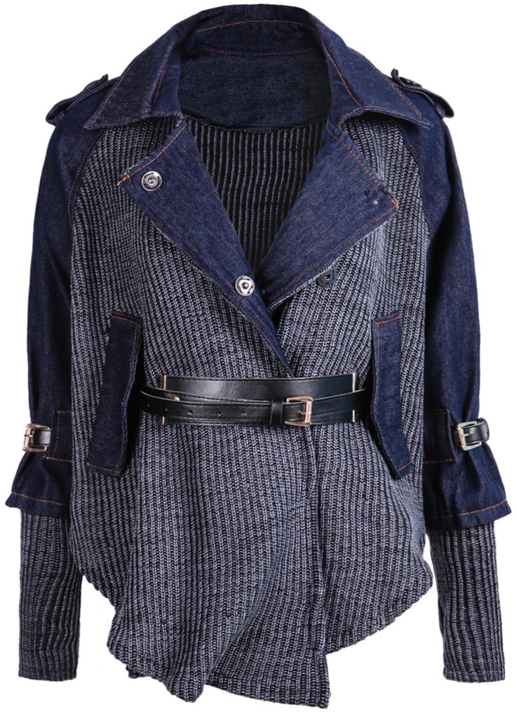 Someone please put an outfit together for this because I want to rock this sooo baddd. Blue Contrast Denim Lapel Knit Sweater 33.33