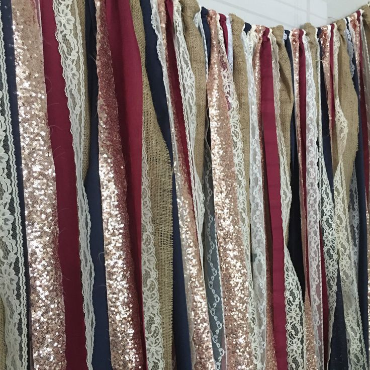 Burlap, Navy, Burgundy & Rose Gold Sequin Garland Backdrop - Rustic Chic Wedding, Photo Prop, Curtain, Baby Shower, Party Deco by ohMYcharley on Etsy https://www.etsy.com/listing/482368202/burlap-navy-burgundy-rose-gold-sequin