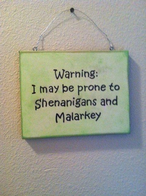 Funny Wall Sign, St Patrick's Day, Irish Gift , Irish Humorous wall decor, Malarkey and Shenanigans! by TuckersMercantile on Etsy https://www.etsy.com/listing/181169571/funny-wall-sign-st-patricks-day-irish