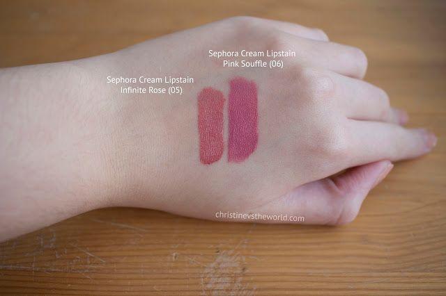 Christine VS. The World: Paris Beauty Haul: Caudalie, Avène, Lush, Mac & Sephora (Sephora Cream Lipstain infinite rose vs pink souffle) swatch
