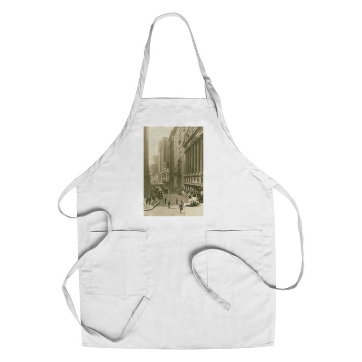 NY Stock Exchange street view - Vintage Photo (Cotton/Polyester Chef's Apron), Blue wash