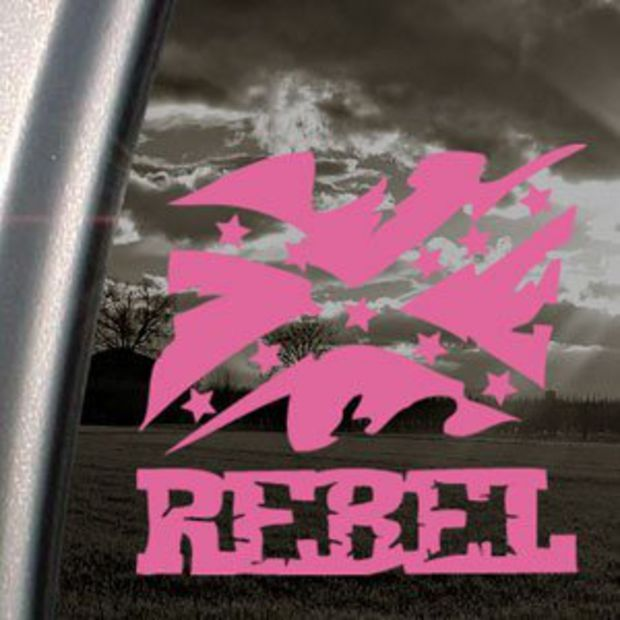Rebel Flag Pink Decal Truck Bumper Window Vinyl Pink