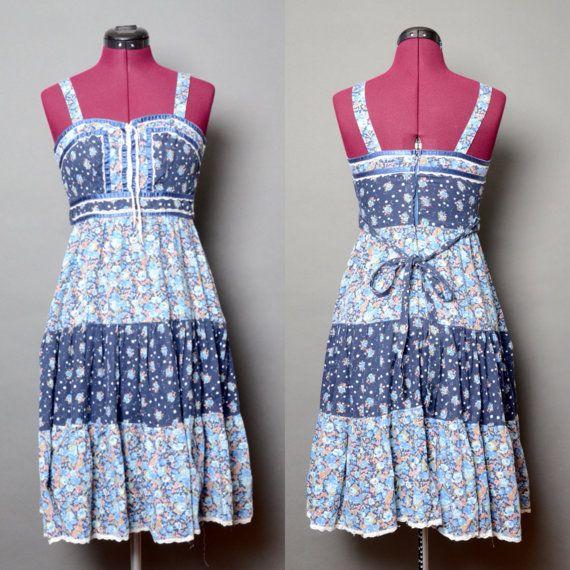 Bohemian Dress 90's Grunge Hippie Floral Blue Summer 1990's Boho Vintage Women's Sleeveless Small Midi Dress Tie Back Lace Embellishment