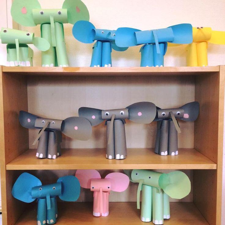 Elefanter gjorda av 6 åringar.