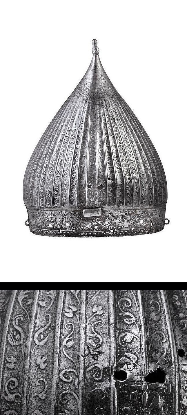 """A rare etched skull of a Nuremberg light cavalry Zischägge in the Ottoman fashion, bearing the Ottoman inscription """"Mohammed"""", the helmet captured by the Turks during the Austro-Turkish war (1591-1606), circa 1560-80."""