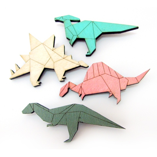 dinosaur brooches by Papiki
