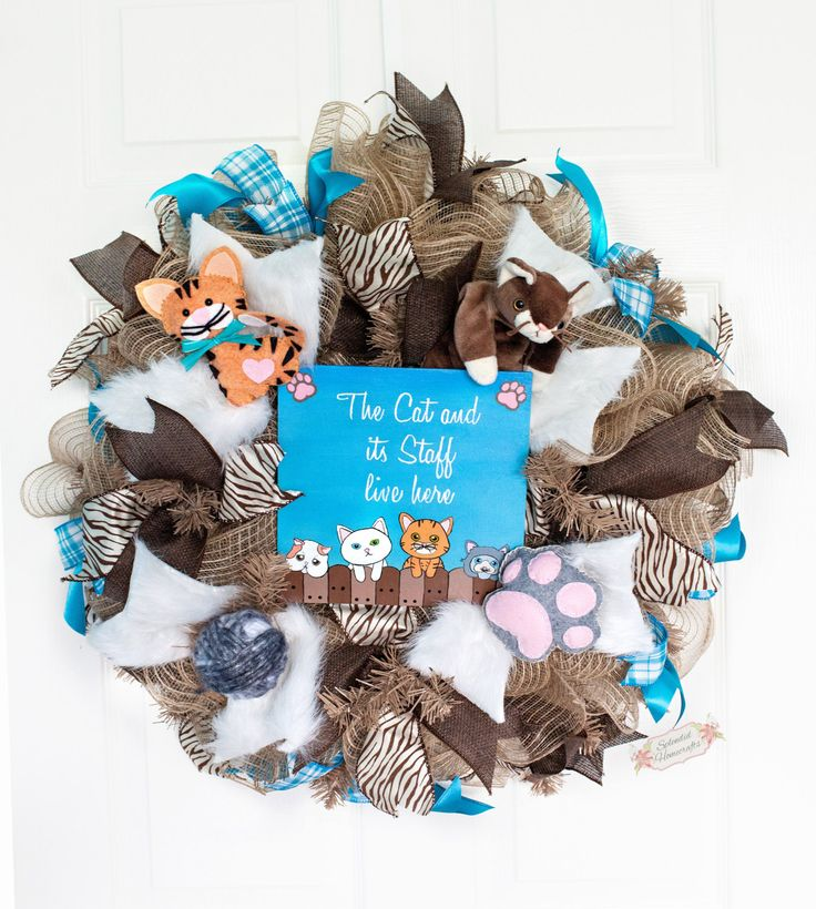 "24"" Cat Deco Mesh Wreath, Cat Lovers Wreath, Burlap Cat Wreath, Cat and Staff Live Here, Pet Wreath, Animal Lover Wreath by Splendid Homecrafts on Etsy"