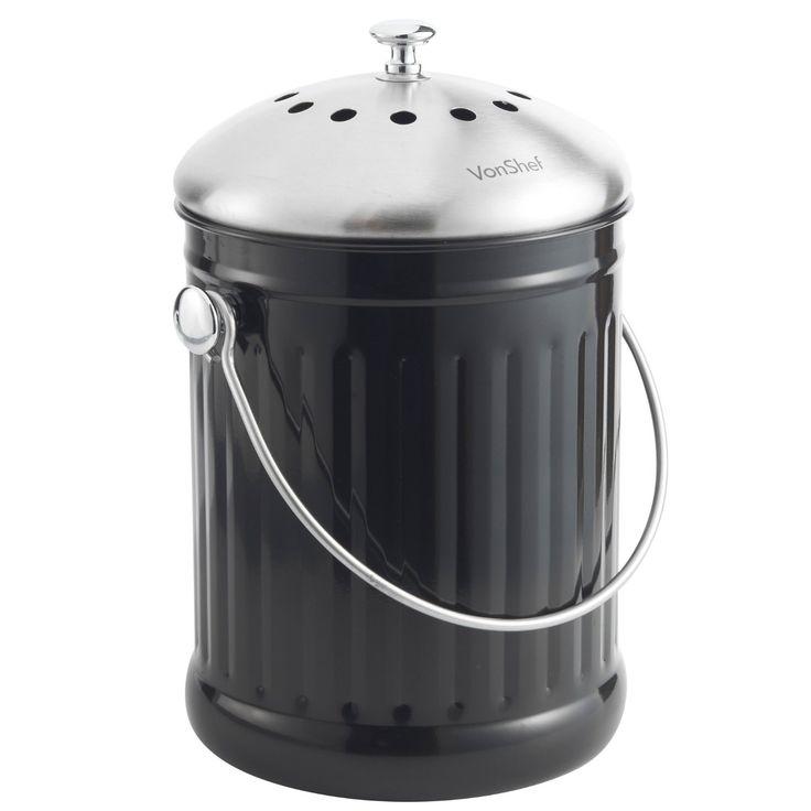 vonshef 12 gallon stainless steel countertop kitchen compost bin