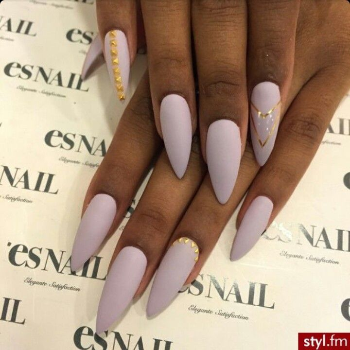 Es Nail | Matte Lavender Almond Acrylic Nails w/ Gold Adherents