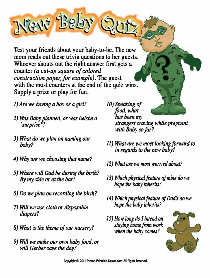 Funny Baby Shower Games: New Baby Shower Quiz